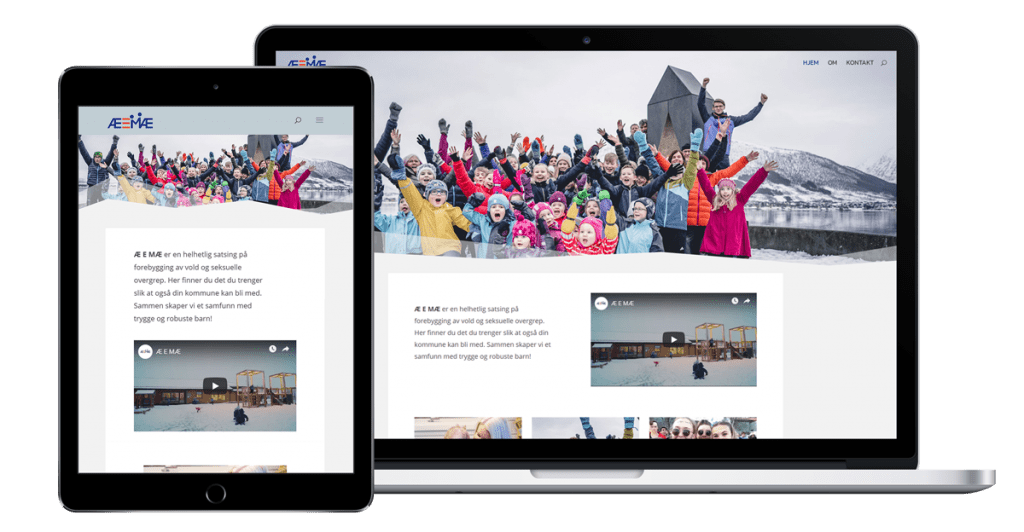 Nettsiden til Æemæ på nettbrett og desktop
