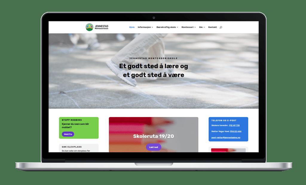 Nettsiden til Jennestad Montessoriskole på desktop