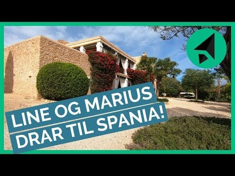 Bilde av villa i Spania med teksten Line og Marius drar til Spania.